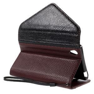 Štýlové Peňaženkové puzdro Sony Xperia Z5 - čierne/hnedé - 6