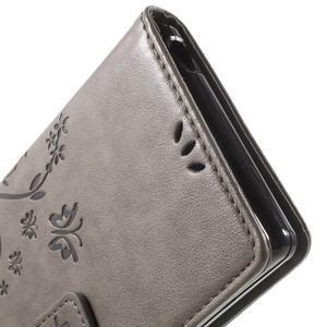Butterfly PU kožené pouzdro na Sony Xperia Z5 - šedé - 6