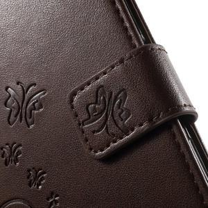 Butterfly PU kožené puzdro pre Sony Xperia Z5 - hnedé - 6