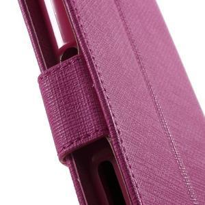 Grid PU kožené puzdro pre Sony Xperia Z5 - rose - 6