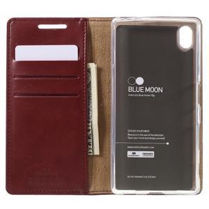 Moon PU kožené puzdro pre Sony Xperia Z5 - tmavočervené - 6