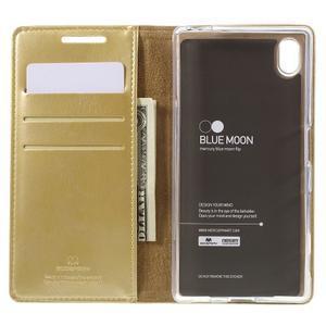 Moon PU kožené puzdro pre Sony Xperia Z5 - zlaté - 6