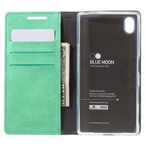 Moon PU kožené puzdro pre Sony Xperia Z5 - cyan - 6
