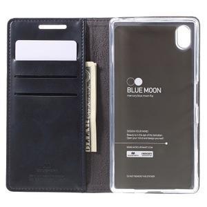 Moon PU kožené puzdro pre Sony Xperia Z5 - tmavomodré - 6