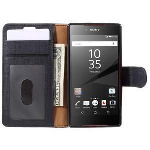Grid Peňaženkové puzdro pre mobil Sony Xperia Z5 Compact - čierne - 6