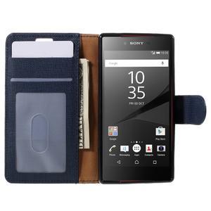 Grid Peňaženkové puzdro pre mobil Sony Xperia Z5 Compact - tmavomodré - 6