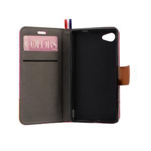 Cloth Peňaženkové puzdro pre mobil Sony Xperia Z5 Compact - ružové - 6
