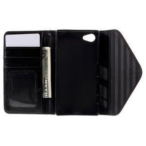 Stylové peněženkové pouzdro na Sony Xperia Z5 Compact - černé/hnědé - 6