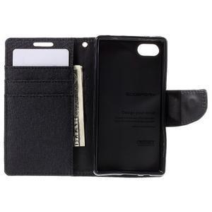 Canvas PU kožené/textilné puzdro pre Sony Xperia Z5 Compact - čierne - 6