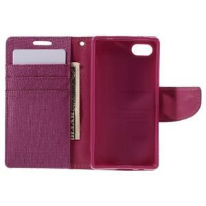 Canvas PU kožené/textilní pouzdro na Sony Xperia Z5 Compact - rose - 6