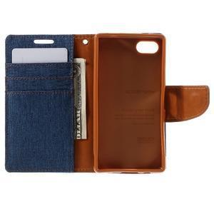 Canvas PU kožené/textilné puzdro pre Sony Xperia Z5 Compact - modré - 6