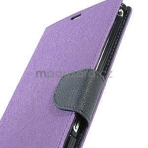 Peňaženkové PU kožené puzdro pre Sony Z Ultra - fialové - 6