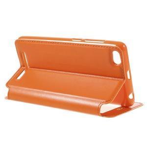 Luxy PU kožené puzdro s okienkom na Xiaomi Redmi 3 - oranžové - 6