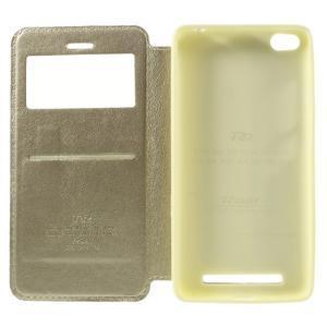 Luxy PU kožené pouzdro s okýnkem na Xiaomi Redmi 3 - zlaté - 6