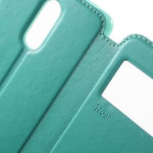 PU kožené puzdro s okienkom na Xiaomi Redmi Note 3 - azurové - 6