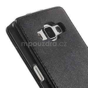 Kožené flipové puzdro na Samsung Galaxy A5 - čierné - 6