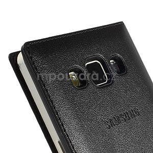 Kožené puzdro s okienkom pre Samsung Galaxy A5 - čierné - 6