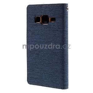 Štýlové textilné/PU kožené puzdro pre Samsung Galaxy Core Prime - modré - 6