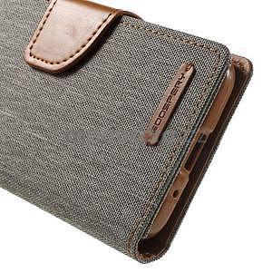 Stylové textilní/PU kožené pouzdro na Samsung Galaxy Core Prime - šedé - 6