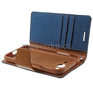 Štýlové textilné/PU kožené puzdro pre Samsung Galaxy Core Prime - jeans - 6