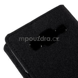 Stylové textilní/PU kožené pouzdro na Samsung Galaxy Core Prime - černé - 6