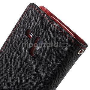 Diary peňaženkové puzdro na mobil Samsung Galaxy S3 mini - čierne/ červené - 6