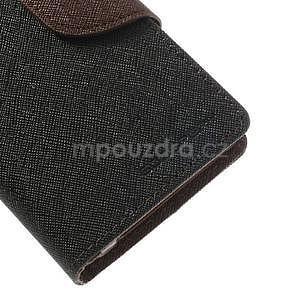 Fancy peňaženkové puzdro na Sony Xperia Z1 Compact - čierne/hnedé - 6