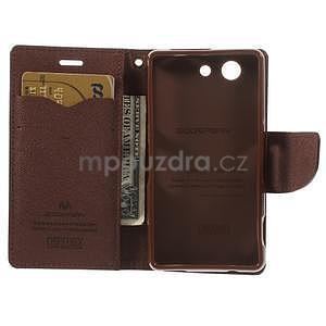 Diary Peňaženkové puzdro pre mobil Sony Xperia Z3 Compact - čierne/hnedé - 6