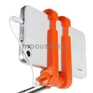 Selfie tyč s automatickým spínačom na rukojeti - oranžová - 6