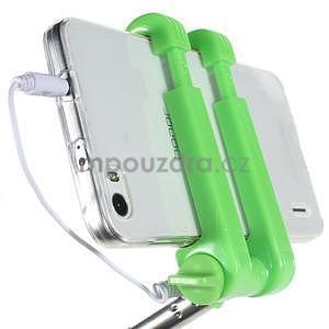 Selfie tyč s automatickým spínačem na rukojeti - zelená - 6