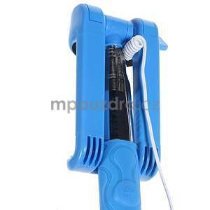 Selfie tyč s automatickým spínačom na rukojeti - svetlo modrá - 6