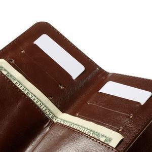 Univerzálne PU kožené puzdro pre mobil do 160 x 80 mm - hnedé - 6