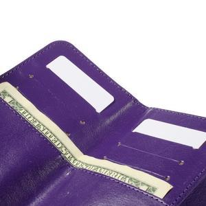 Univerzálne PU kožené puzdro pre mobil do 160 x 80 mm - fialové - 6