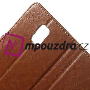 Peňaženkové kožené puzdro na Samsung Galaxy Note 4- hnedé - 7