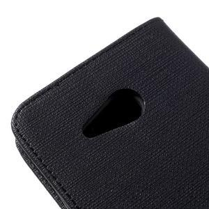 Cloth PU kožené puzdro na mobil Microsoft Lumia 550 - čierné - 7