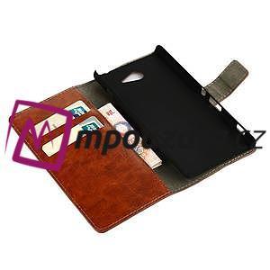 Peňaženkové kožené puzdro na Sony Xperia M2 D2302 - hnedé - 7