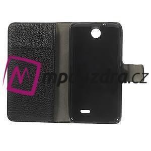 Peňaženkové kožené puzdro na HTC Desire 310- čierné - 7