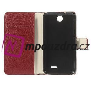 Peňaženkové kožené puzdro na HTC Desire 310- červené - 7