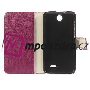 Peňaženkové kožené puzdro na HTC Desire 310- růžové - 7