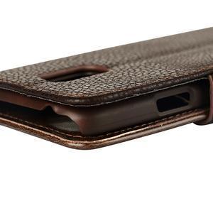 PU kožené flipové pouzdro na Samsung Galaxy S5 mini G-800- hnědé - 7