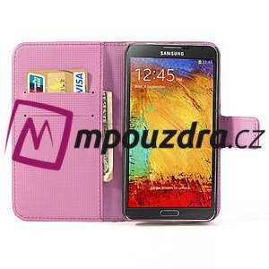 Peňaženkové puzdro pre Samsung Galaxy Note 3- fiaolový kvet - 7