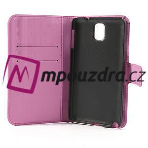 Peňaženkové  puzdro pre Samsung Galaxy Note 3- farebné motýle - 7