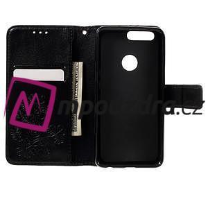 Floay PU kožené puzdro s kamienky na mobil Honor 8 - černé - 7