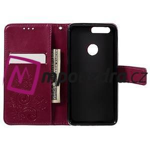 Floay PU kožené puzdro s kamienky na mobil Honor 8 - rose - 7