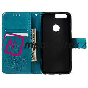 Floay PU kožené puzdro s kamienky na mobil Honor 8 - modré - 7