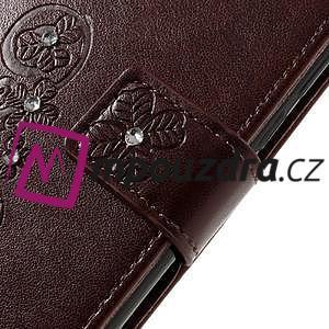 Floay PU kožené puzdro s kamienky na mobil Honor 8 - hnědé - 7