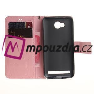 Dandelion PU kožené puzdro na mobil Huawei Y3 II - růžové - 7