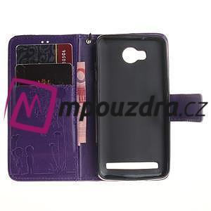 Dandelion PU kožené puzdro na mobil Huawei Y3 II - fialové - 7