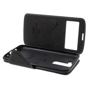 Diary PU kožené pouzdro s okýnkem na LG K8 - bílé - 7
