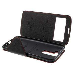 Diary PU kožené puzdro s okienkom na LG K8 - červené - 7